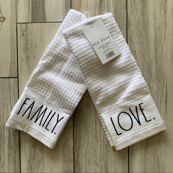 NWT Rae Dunn Family Love Kitchen Towels Set of 2